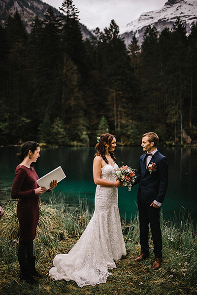 Wedding at Lake Blausee in Switzerland