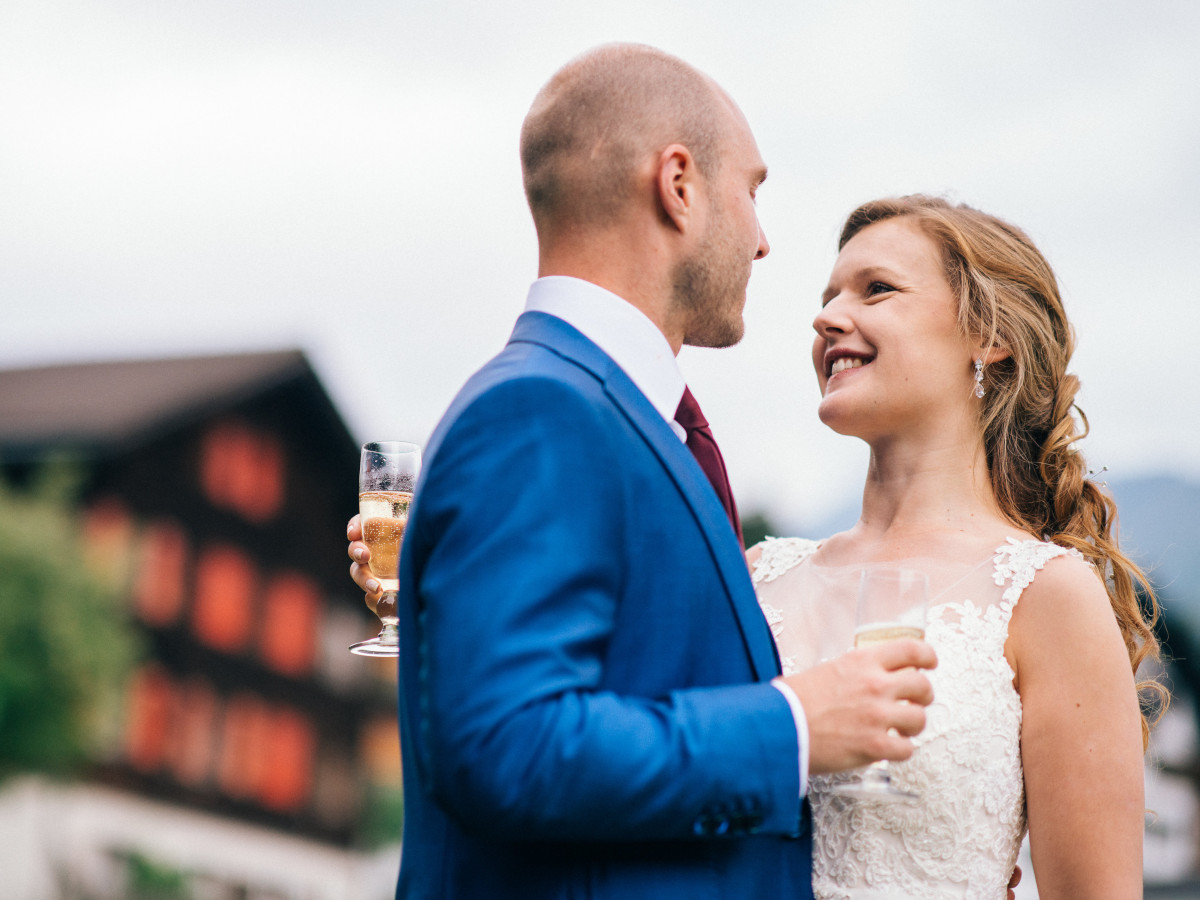 Happy couple after their wedding ceremony in Klosters