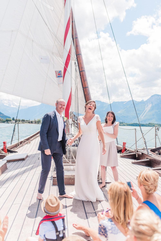 Elopement on a boat, lake Geneva