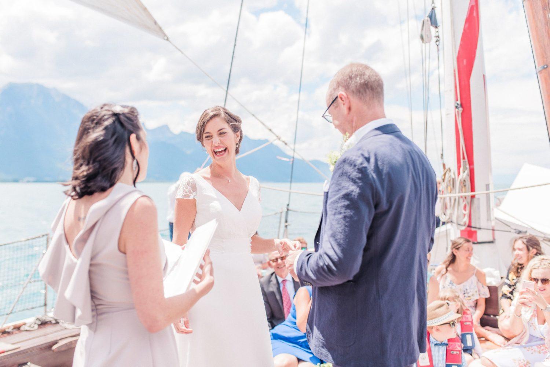 Elopement sur le Léman en Suisse, célébration de mariage