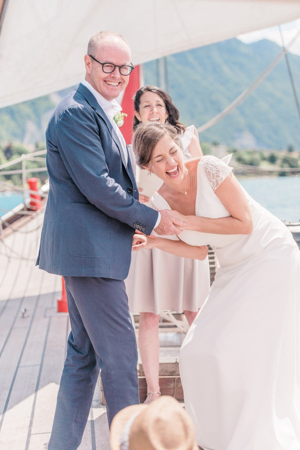 Happy couple during their elopement ceremony in Switzerland