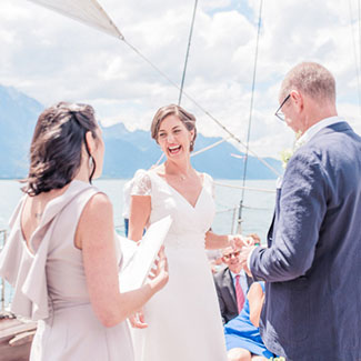 Wedding ceremony on a boat lake Geneva