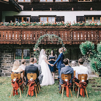 Wedding ceremony in a Swiss chalet