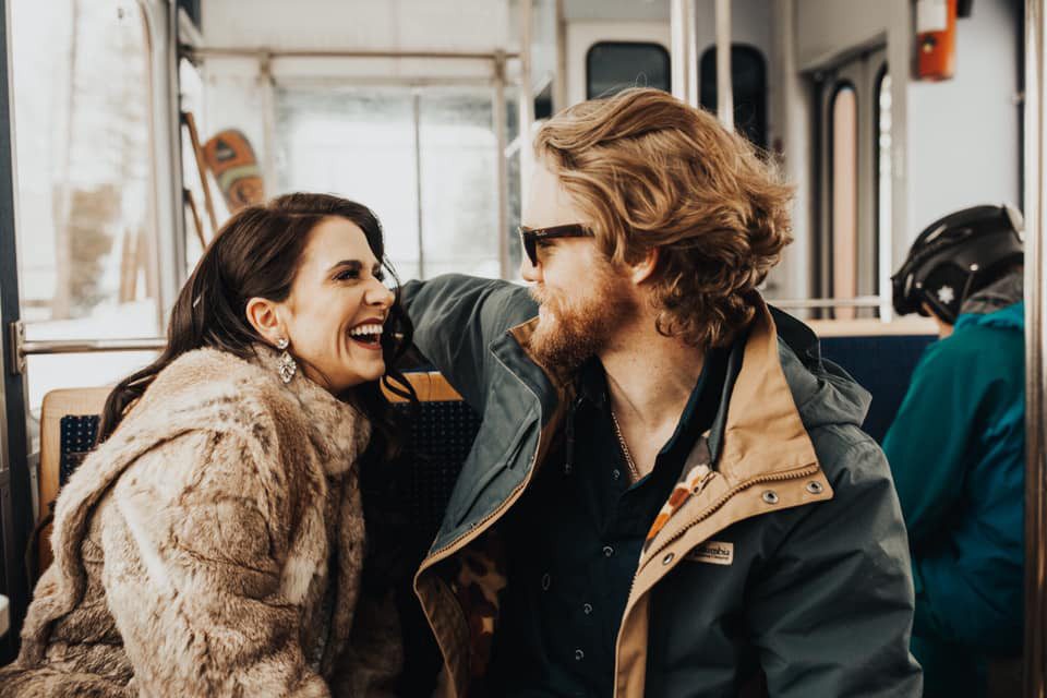 Couple in love in the bus