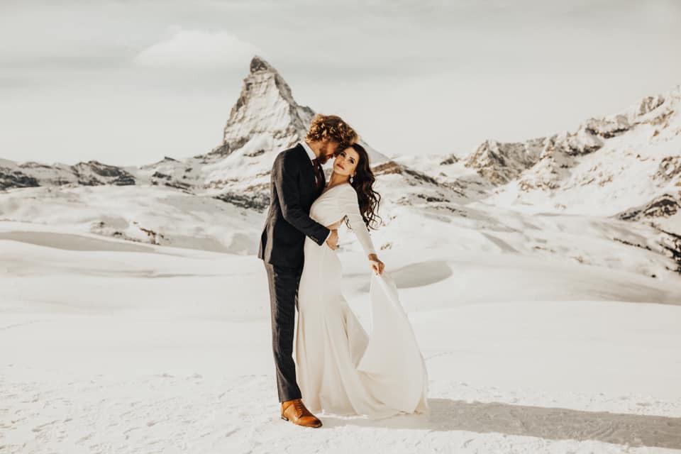 Happy couple after their wedding ceremony in Zermatt