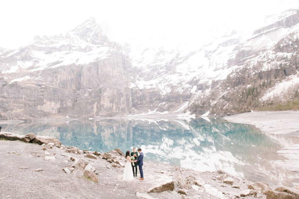 An elopement ceremony at Oeschinensee