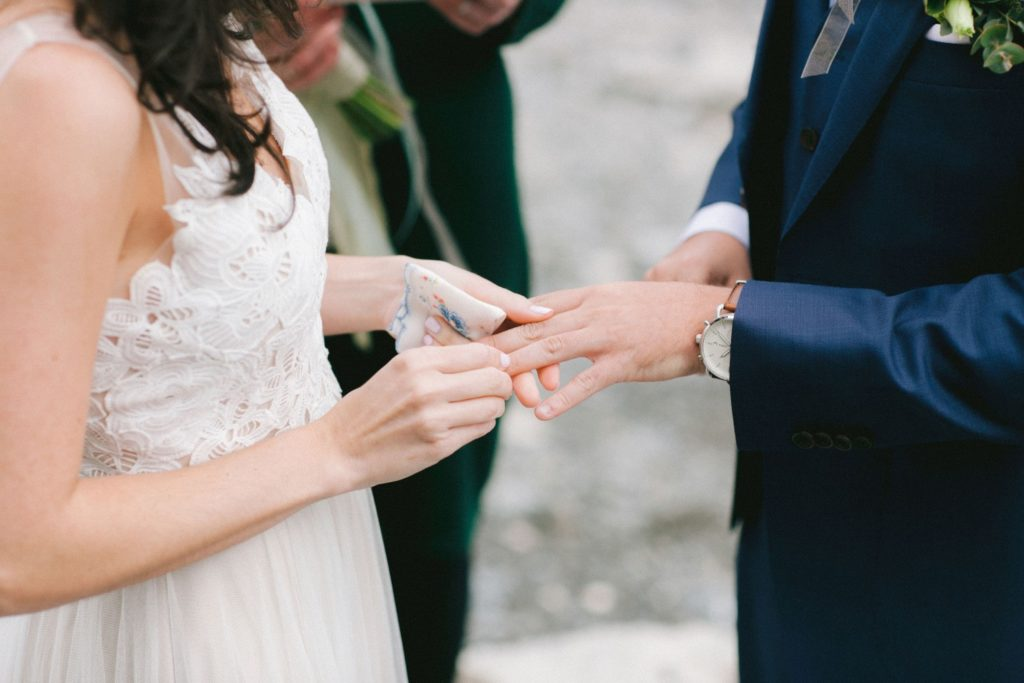 Exchange of rings during wedding ceremony