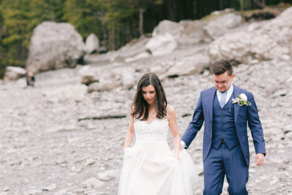 Couple walking after their wedding ceremony