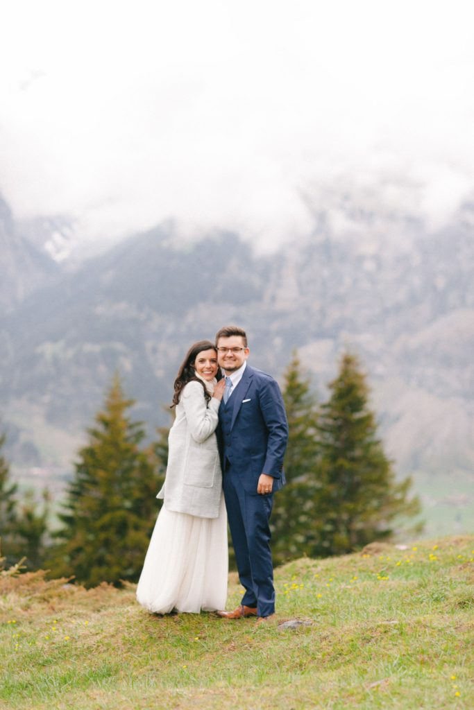Couple after their elopement in Switzerland