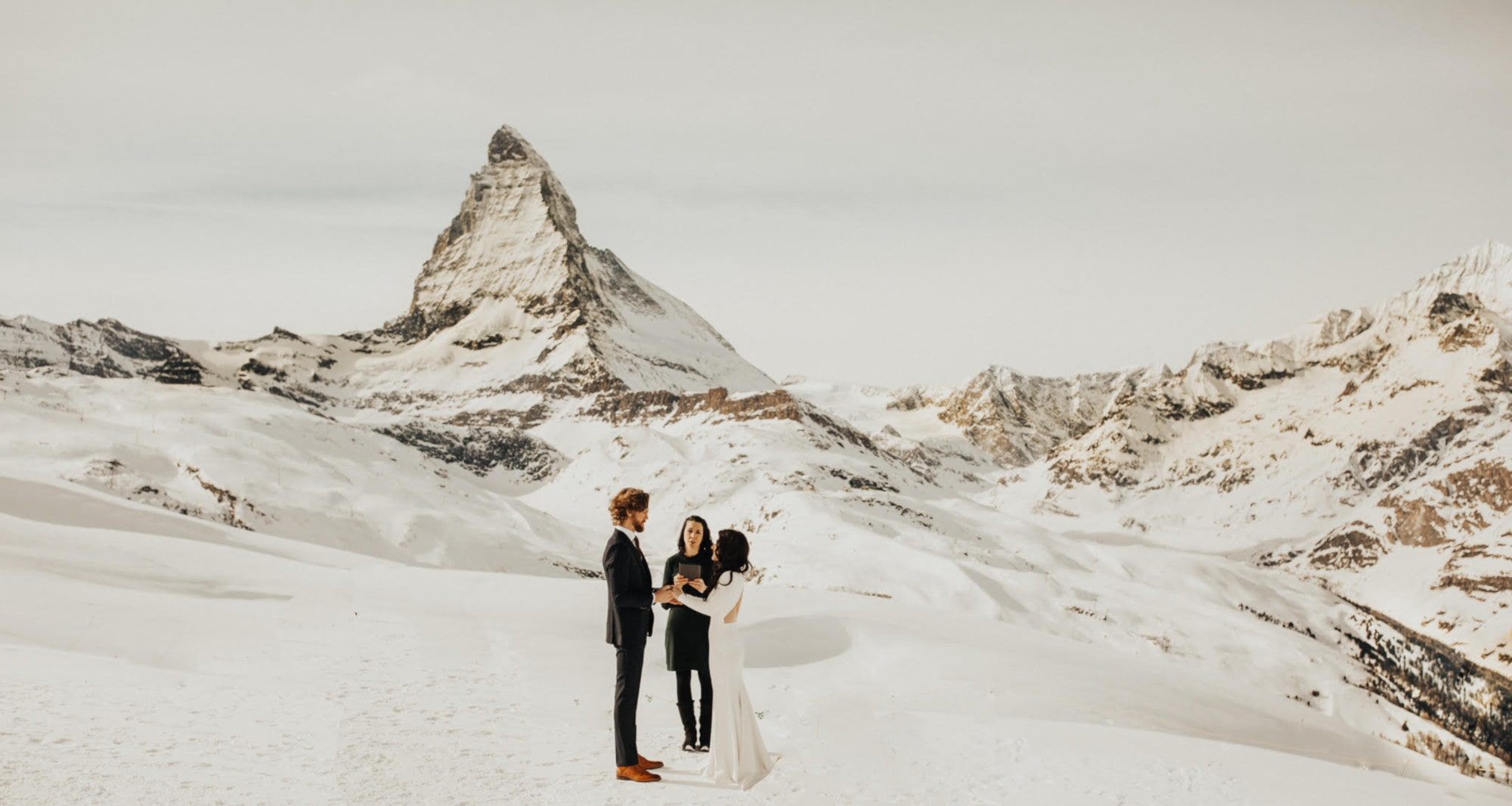 winter elopement ceremony in Zermatt