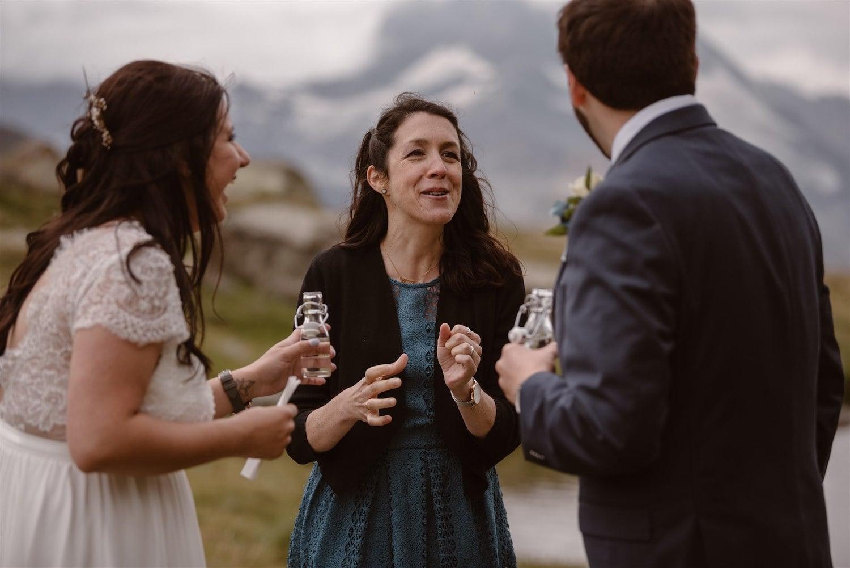 Happy times during a symbolic wedding in Zermatt, Switzerland