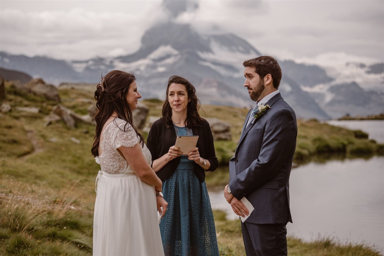 Wedding ceremony during a summer elopement in Zermatt, Switzerland