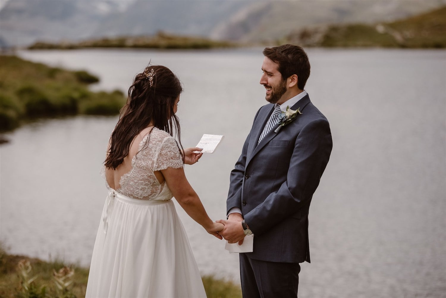 Couple exchanging vows during their summer elopement in Zermatt