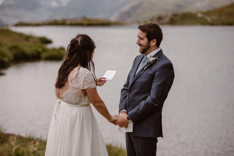 Couple exchanging vows during their summer elopement in Zermatt