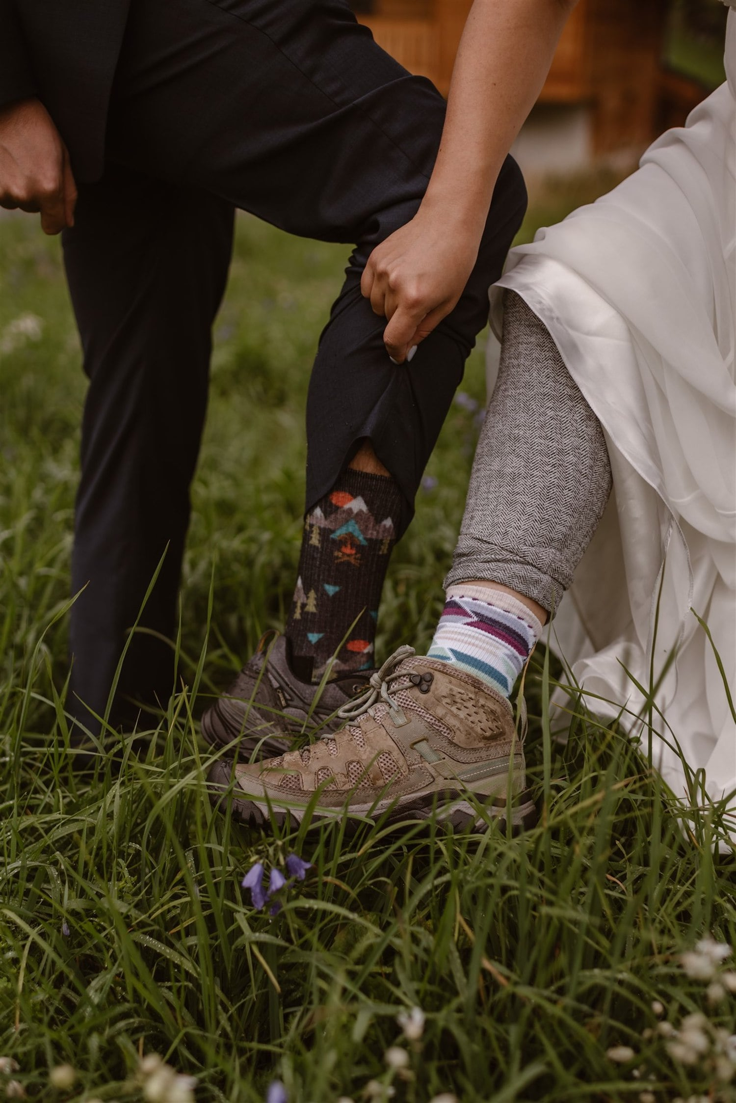 Couple getting prepared for their wedding ceremony in the mountains