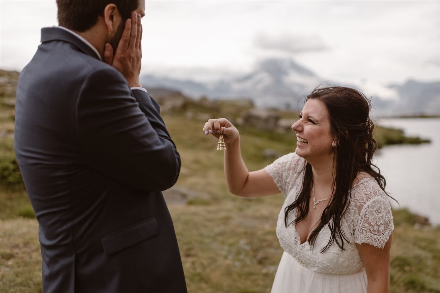 Happy newlyweds during their summer elopement in Zermatt