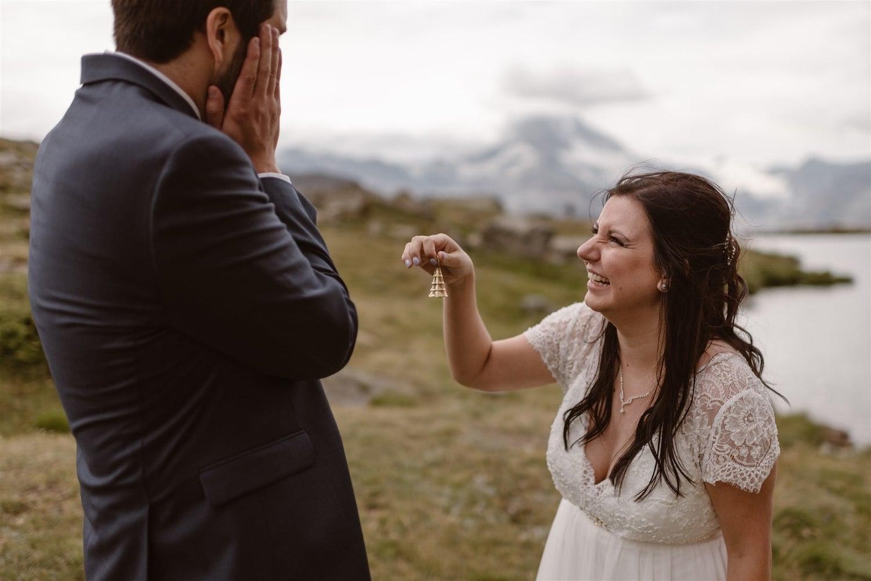 Happy newlyweds during their summer elopement in Zermatt