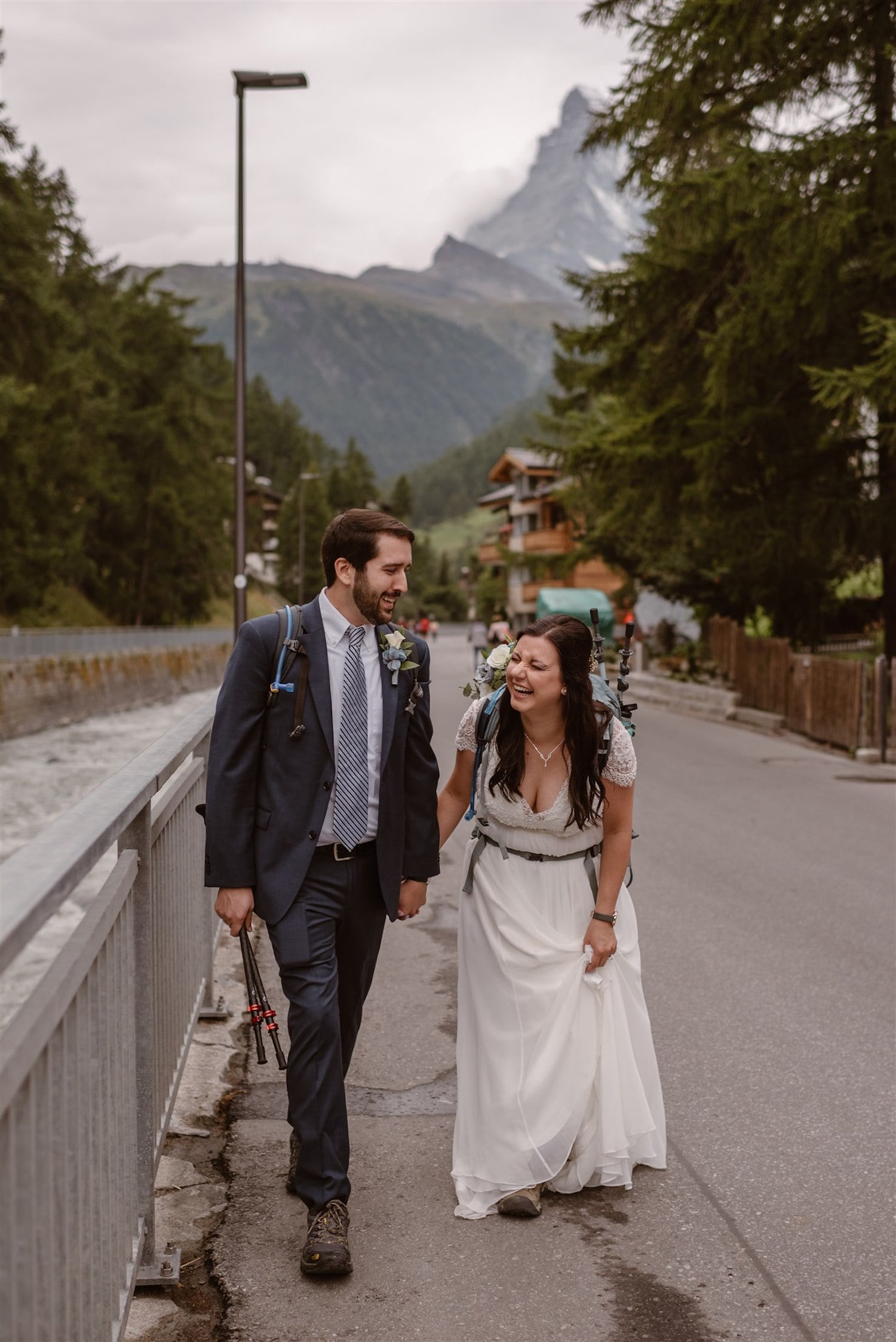Lovers getting married in Zermatt, Switzerland