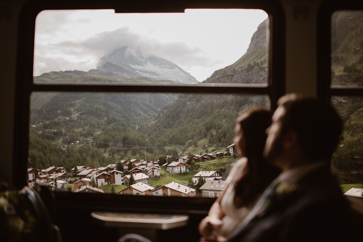 Couple looking at the Matterhorn after their elopement ceremony