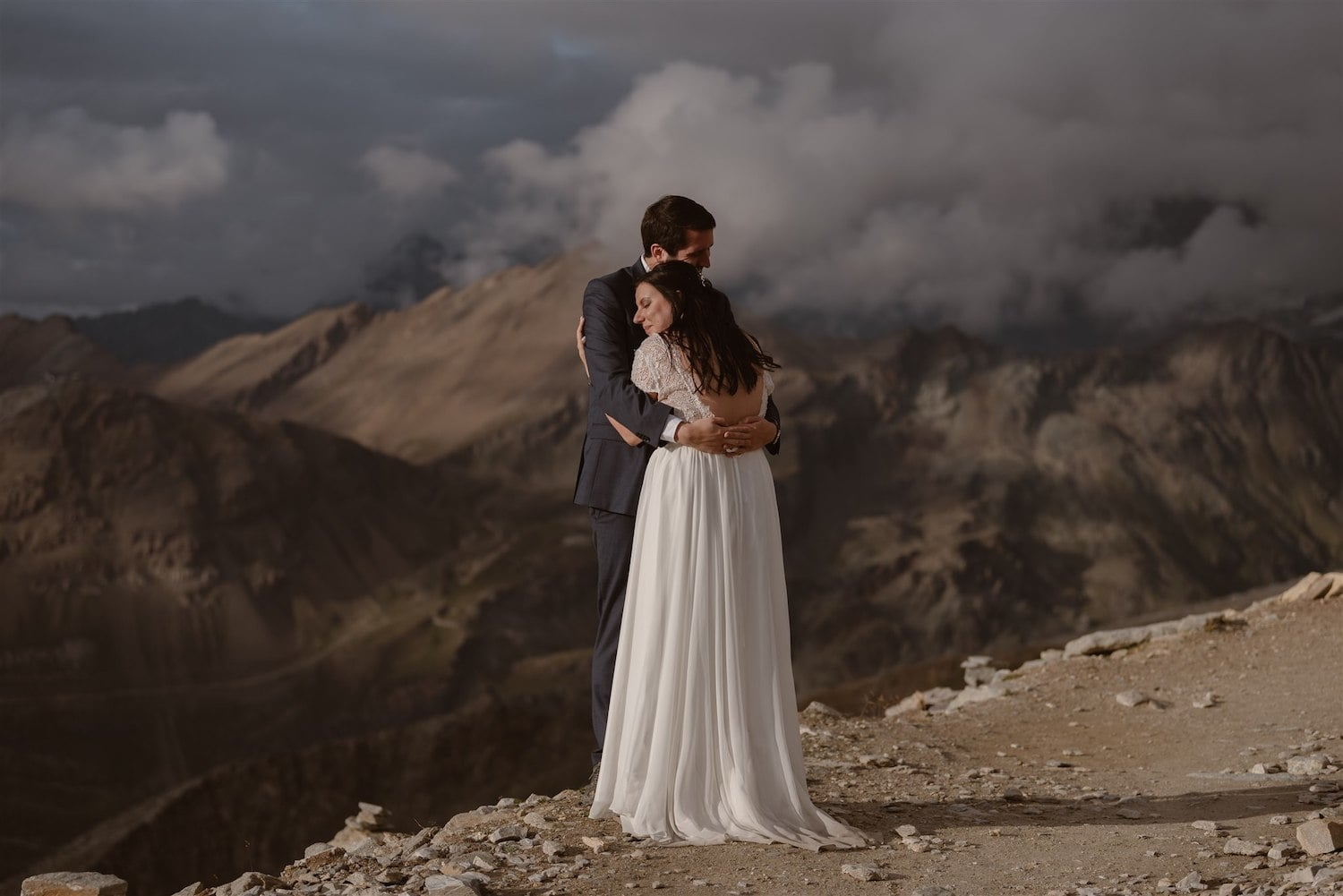 Couple hugging after their elopement ceremony in Zermatt