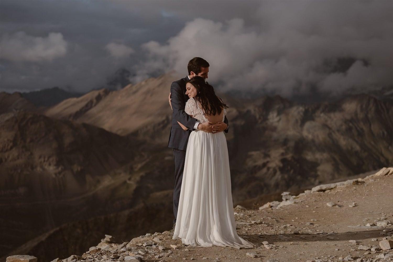 Couple hugging after their elopement ceremony in Zermatt