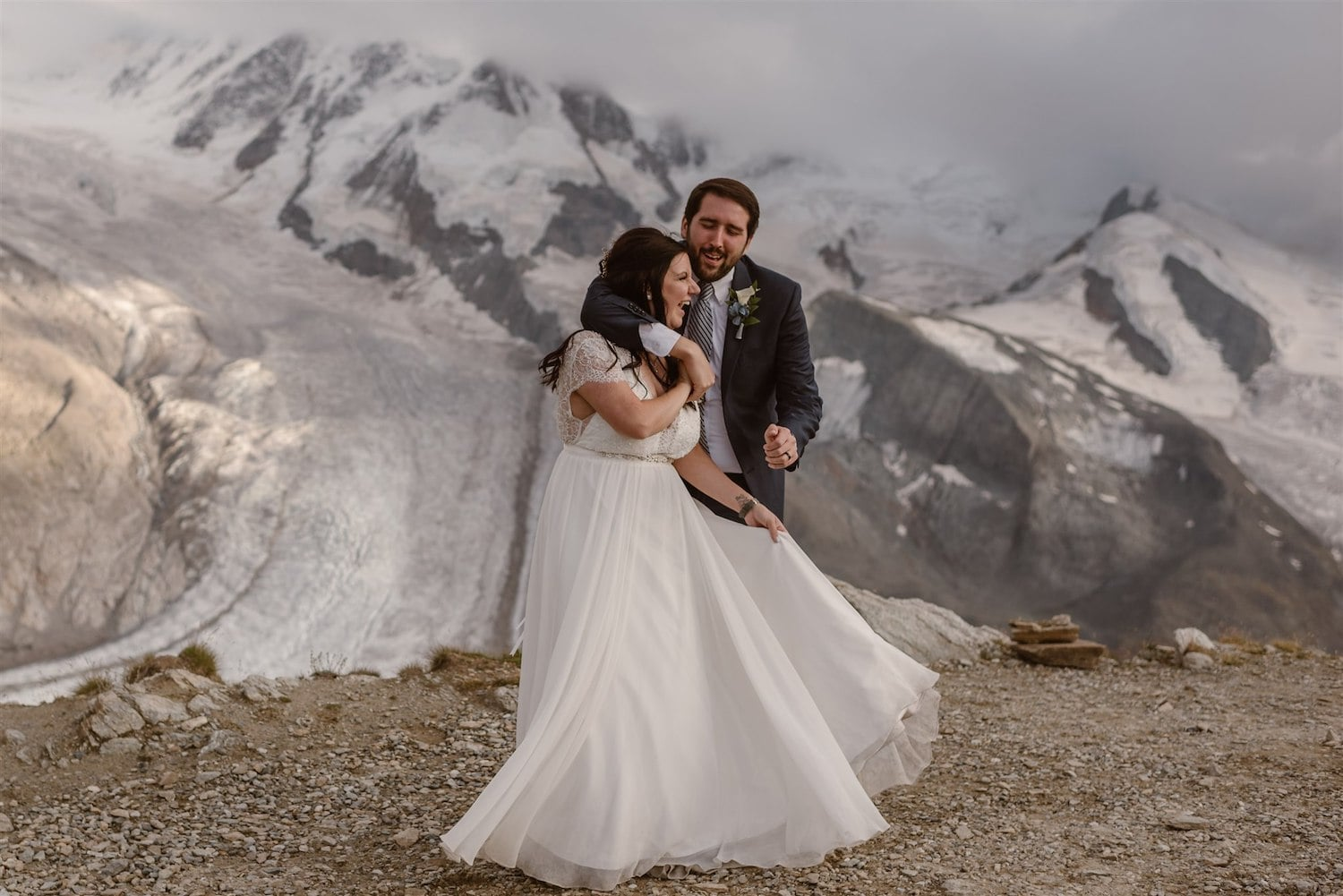 Couple dancing on the Swiss Mountains