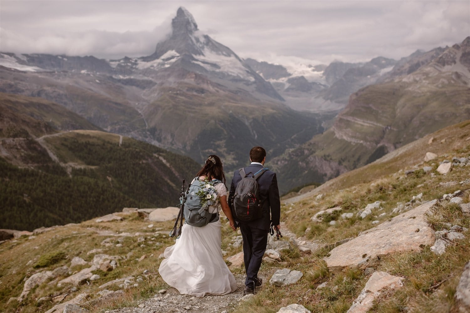 Adventurous couple getting married in Switzerland