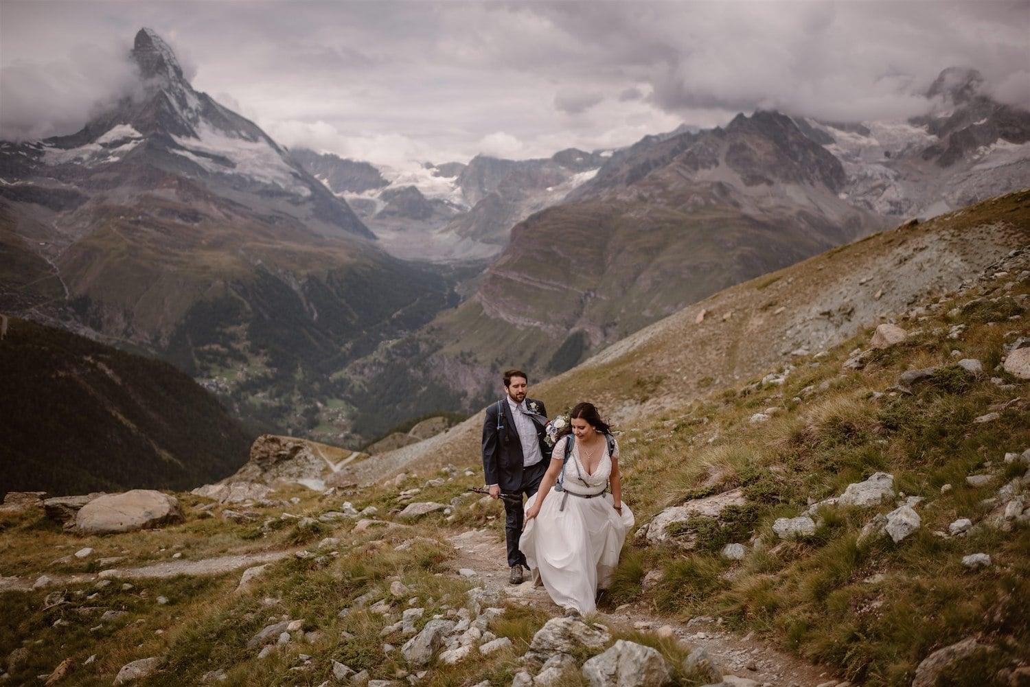 An elopement in the Swiss mountains in Zermatt, Switzerland
