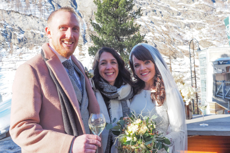 Marian, Conor and Marylin Rebelo after their wedding ceremony in Zermatt