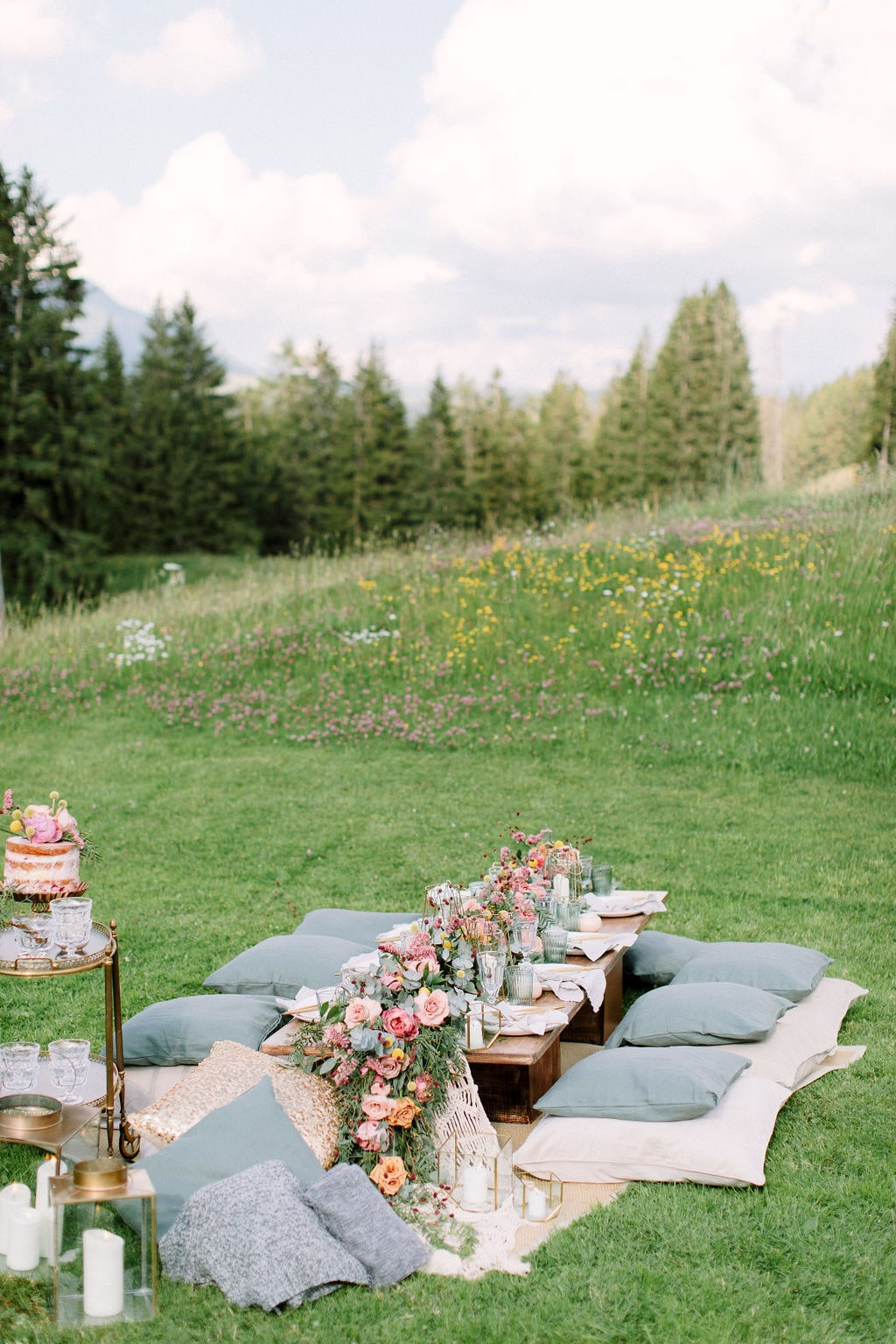 picnic time in gstaad after a wedding elopement